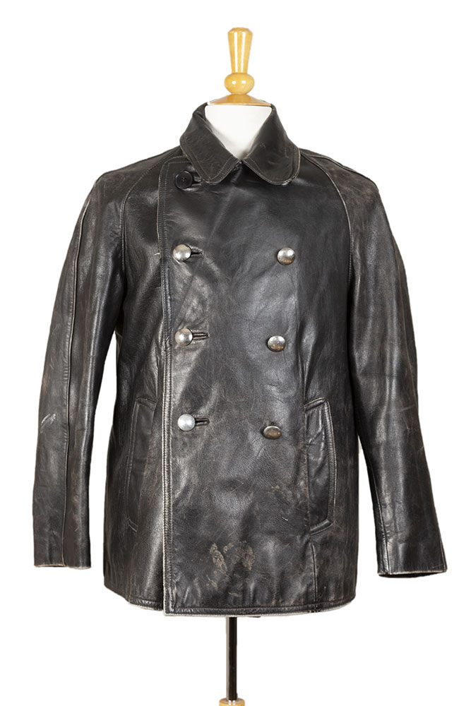 1940's German leather peacoat