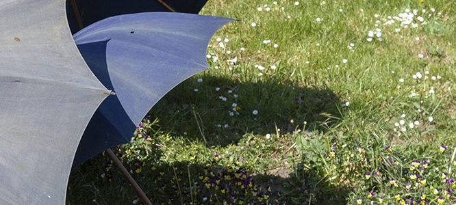Early 20th century french indigo linen umbrellas