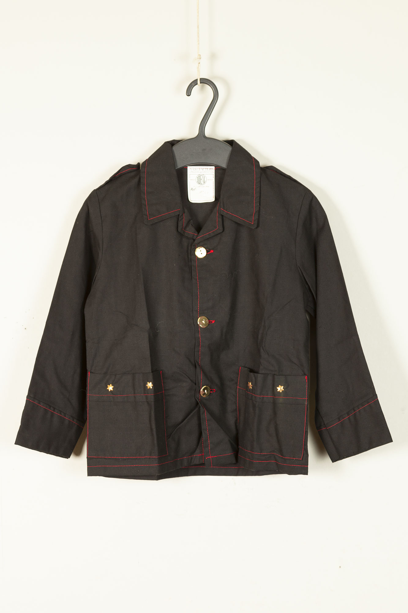 1950's deadstock french black linen jacket for