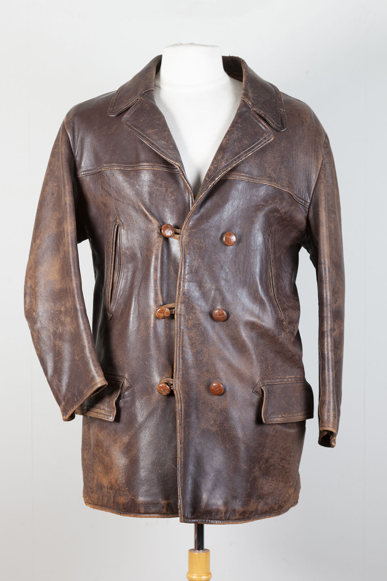 1950's french leather mackinaw