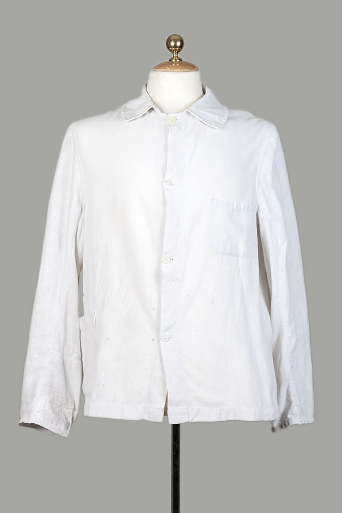 1950's french white linen work jacket