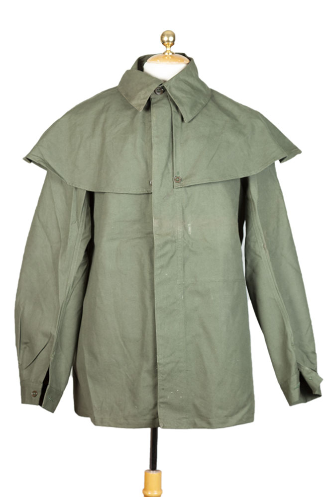 1950's deadstock french hunting linen olive green cape coats
