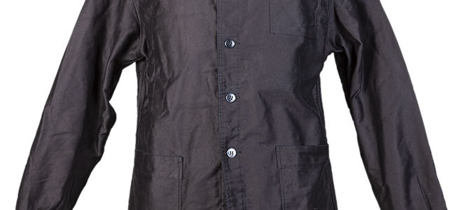 1950's french deadstock black moleskine jacket