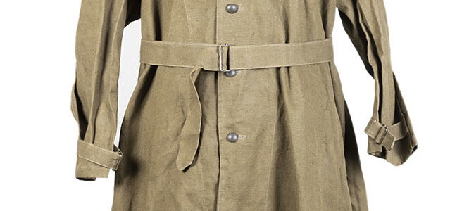 1950's deadstock french kaki linen motorcyclist coat