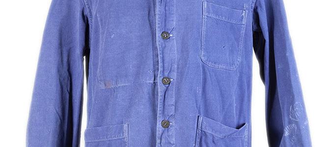 1950's belgian round collar blue work jacket