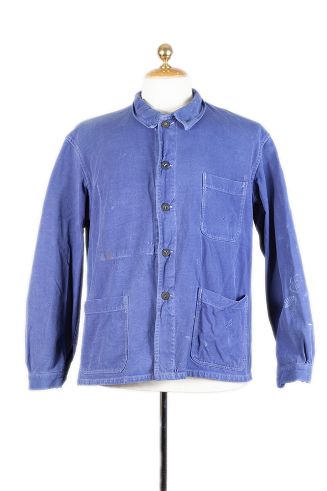 1950's belgian round collar blue work jacket