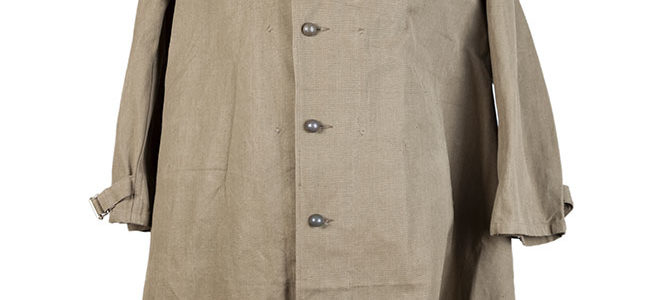 1950's deadstock french kaki cotton & linen motorcyclist coat