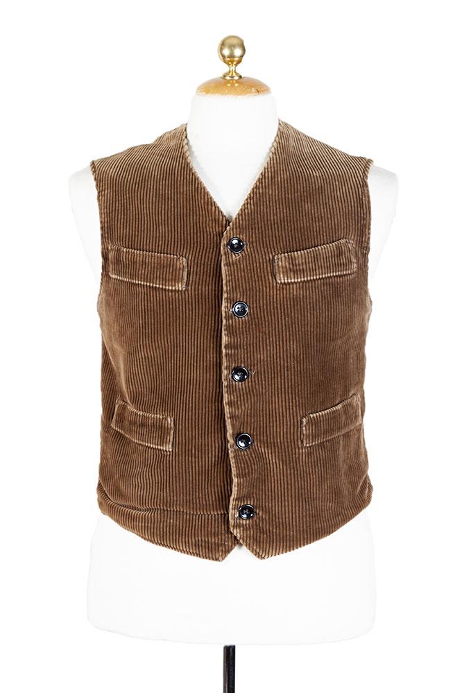 1930's Belgian brown cord work vest