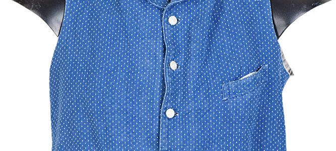 1930's belgian blue cotton pique vest