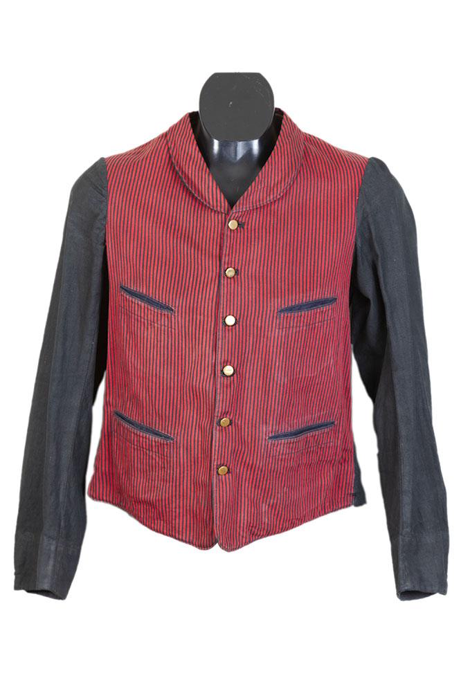 1930's belgian long sleeves stripped servant gilet