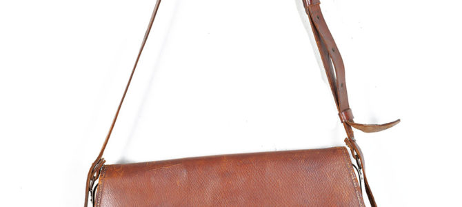 Mid 20th century french Manufrance leather bag