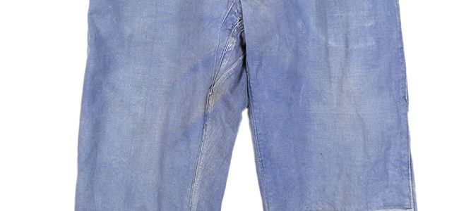 1940's french mended & patched blue cotton work pants