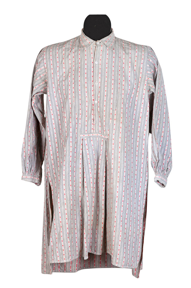 1920's french farmer striped cotton shirt