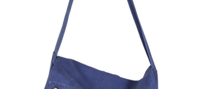 1950's french blue musette shoulder bag