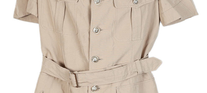 1950's french linen colonial saharienne short sleeves shirt