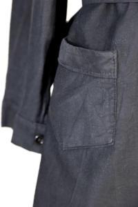 1930's french black linen woman atelier coat, lemagasin, le magasin