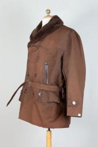 1950's french brown linen canadienne jacket, lemagasin, le magasin