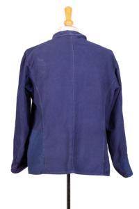 1950's indigo blue patched moleskin chore jacket, lemagasin,  vintage clothing, french workwear, antique clothing, french antique clothing