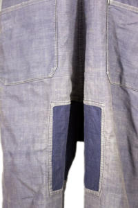 1930's Le Durable french indigo linen overall, vintage french workwear, lin indigo, patched, mended, darned, raccommodages