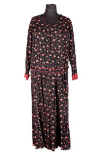 1940's french raw silk printed dress, lemagasin, le magasin