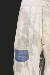 1930's Le Populaire french indigo bleached linen overall, lemagasin, loiseauraretournai, vintage clothing, french workwear, antique clothing, french antique clothing