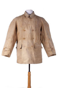 1940's french double-breasted cachou linen coat, lemagasin, le magasin